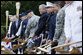 President George W. Bush participates in the ceremonial groundbreaking for the Walter Reed National Medical Center Thursday, July 3, 2008, in Bethesda, Md.  White House photo by Eric Draper