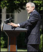 President George W. Bush delivers a statement on the G8 Summit Wednesday, July 2, 2008, in the Rose Garden of the White House. White House photo by Eric Draper