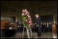President George W. Bush and Laura Bush present the Executive Branch Wreath during a wreath-laying ceremony in honor of Rosa Parks, in the Rotunda of the U.S. Capitol in Washington, D.C., Sunday Oct. 30, 2005. White House photo by Shealah Craighead