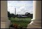 President George W. Bush and Laura Bush depart for New Hampshire and Michigan aboard Marine One from the South Lawn of the White House, Monday, August 30, 2004.  White House photo by Eric Draper