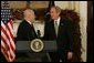 President George W. Bush announces his nomination of Bernard B. Kerik, the New York police commissioner during the Sept. 11, 2001 terrorist attacks, as the new Department of Homeland Security Secretary in the Roosevelt Room Friday, Dec. 3, 2004.  White House photo by Tina Hager