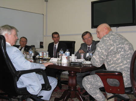 Secretary Leavitt meeting with U.S. Ambassador Ryan Crocker and General Raymond T. Odierno