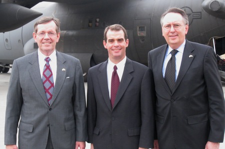 Secretary Michael Leavitt, Health Attaché Terry Cline, and Chief of Staff Rich McKeown