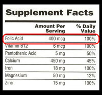 Supplement Facts table, highlighting 100% Daily Value of Folic Acid