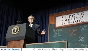 President George W. Bush gestures as he addresses his remarks Thursday, Jan. 8, 2008 at the General Philip Kearny School in Philadelphia, in support of the No Child Left Behind Act, urging Congress to strenghten and reauthorize the legislation. White House photo by Chris Greenberg