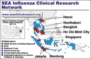 Map of Southeast Asia Influenza Clinical Research Network showing collaborating laboratory locations.