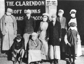 Photo of people wearing masks during the 1918 flu pandemic.