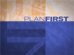 Logo of PlanFirst web series on pandemic influenza planning.