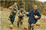 the kids with pumpkins