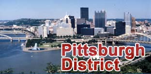 Image of the point in Pittsburgh, PA.  The graphic Pittsburgh District is superimposed over the image.