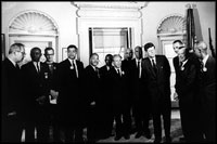 John F. Kennedy meets with Martin Luther King, Jr. and the leaders of the March on Washington in the Oval Office August 28, 1963. With more extensive press coverage than any previous political demonstration in U.S. history, the march and King's speech were historic moments in the Civil Rights movement.