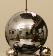 NIST CMM lab reflected in the NIST Mass group silicon sphere