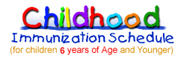 Childhood Immunization Schedule for children 6 years of age and younger