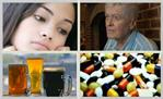 collage showing sad people, pills, and beer mugs