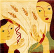 Celiac disease poster showing woman, child, DNA double helix and wheat.