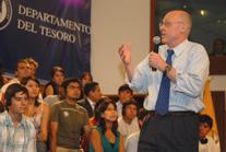 Secretary Paulson speaks to students at Pontificia Universidad Catolica Del Peru in Lima