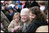 "Former first lady Barbara Bush is surrounded by children as she poses for photos Monday, March 24, 2008, following her reading at the 2008 White House Easter Egg Roll, where she read ""Arthur's New Puppy."""