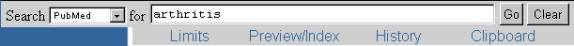 PubMed search with 'arthritis' as search term