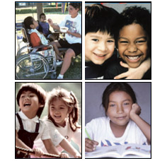 Photo Montage of children at play, reading, and a scene in an outdoor recreational park where a disabled child is being cared for by a child care provider.