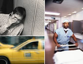 tired worker, taxi, hospital worker