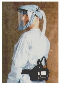 Hospital Worker wearing a PAPR