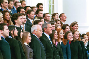 President George W. Bush and Vice President Dick Cheney pose with the Fall 2004 White House Interns on the North Portico steps of the White House, Nov. 15, 2004. White House photo by Eric Draper