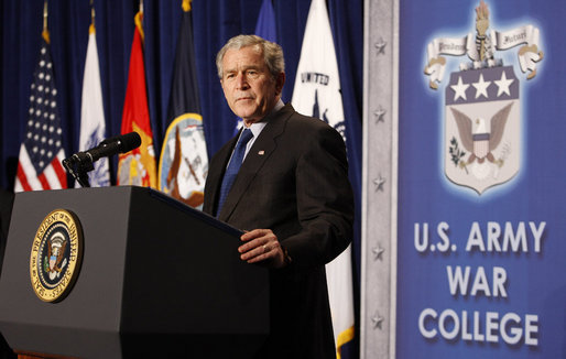 "President George W. Bush addresses his remarks on national security, homeland security and the Freedom Agenda Wednesday, Dec. 17, 2008, at the U.S. Army War College in Carlisle, Pa. In his address President Bush said, ""As President, I've had no higher responsibility than waging this struggle for the security and liberty of our people."" White House photo by Chris Greenberg"
