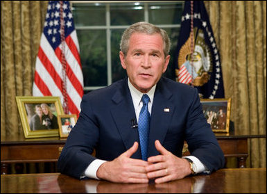 President George W. Bush delivers an Address to the Nation from the Oval Office, Monday night, May 15, 2006. White House photo by Eric Draper