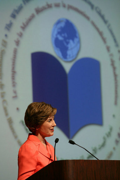 "Mrs. Laura Bush address the White House Symposium on Advancing Global Literacy: Building a Foundation for Freedom, which convened at New York City's Metropolitan Museum of Art in New York City, Sept. 22, 2008. With a projection screen display to her side, Mrs. Bush noted that ""literacy is at the core of sustainable solutions to the world's greatest problems."" Worldwide more than 770 million adults live without literacy skills. White House photo by Chris Greenberg"