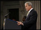 """President George W. Bush addresses his remarks on financial markets and the world economy Thursday, Nov. 13, 2008, at the Federal Hall National Memorial in New York. President Bush said, """"While reforms in the financial sector are essential, the long-term solution to today's problems is sustained economic growth. And the surest path to that growth is free markets and free people.""""  White House photo by Eric Draper"""
