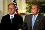 President George W. Bush announces his nomination of Randall Tobias to be the Coordinator for International HIV/AIDS Assistance in the Roosevelt Room Wednesday, July 2, 2003. A newly-created position, the coordinator will have the rank of Ambassador and oversee all U.S. international HIV/AIDS assistance.