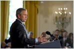 """President George W. Bush discusses his Global HIV/AIDS Initiative in the East Room Tuesday, April 29, 2003. """"Today, on the continent of Africa alone nearly 30 million people are living with HIV/AIDS, including 3 million people under the age of 15 years old. In Botswana, nearly 40 percent of the adult population -- 40 percent -- has HIV, and projected life expectancy has fallen more than 30 years due to AIDS,"""" said the President."""