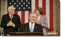 President George W. Bush smiles as he delivers his 2008 State of the Union address Monday, Jan. 28, 2008, at the U.S. Capitol. White House photo by Eric Draper