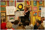 """Lynne Cheney shares ideas from her book """"A is for Abigail: An Almanac of Amazing American Women"""" with more than 80 third grade students from Ashurst Elementary School and Russell Elementary School on Marine Corps Base, Quantico, Va., Oct. 23, 2003. This is the second children's book authored by Mrs. Cheney designed to educate children about American History. Mrs. Cheney's proceeds from the book will be donated to charity."""