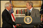 President George W. Bush shakes hands with former North Dakota Gov. Edward Schafer, his nominee for Secretary of Agriculture, during an afternoon announcement Wednesday, Oct. 31, 2007, in the Roosevelt Room of the White House. White House photo by Chris Greenberg