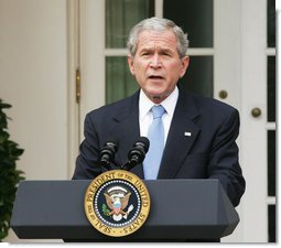 "President George W. Bush delivers a statement on the 2008 president election from the Rose Garden Wednesday, Nov. 5, 2008, at the White House. Said the President, ""A long campaign has now ended, and we move forward as one nation. We're embarking on a period of change in Washington, yet there are some things that will not change. The United States government will stay vigilant in meeting its most important responsibility -- protecting the American people. And the world can be certain this commitment will remain steadfast under our next Commander-in-Chief."" White House photo by Joyce N. Boghosian"