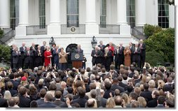 """President George W. Bush speaks to employees of the Executive Office of the President Thursday, Nov. 6, 2008, about the upcoming transition. In thanking the staff, the President said, """"The people on this lawn represent diverse backgrounds, talents, and experiences. Yet we all share a steadfast devotion to the United States. We believe that service to our fellow citizens is a noble calling -- and the privilege of a lifetime.""""  White House photo by Joyce N. Boghosian"""