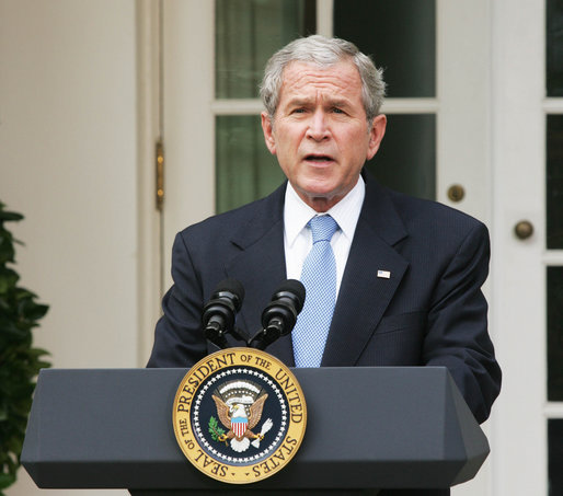 """President George W. Bush delivers a statement on the 2008 president election from the Rose Garden Wednesday, Nov. 5, 2008, at the White House. Said the President, """"A long campaign has now ended, and we move forward as one nation. We're embarking on a period of change in Washington, yet there are some things that will not change. The United States government will stay vigilant in meeting its most important responsibility -- protecting the American people. And the world can be certain this commitment will remain steadfast under our next Commander-in-Chief."""" White House photo by Joyce N. Boghosian"""