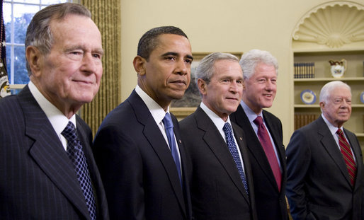 President George W. Bush meets with former Presidents George H.W. Bush, Bill Clinton and Jimmy Carter and President-elect Barack Obama Wednesday, Jan. 7, 2009 in the Oval Office of the White House. White House photo by Joyce N. Boghosian
