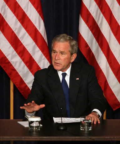 """President George W. Bush delivers remarks during a drop-by meeting on the economy and tax cuts Monday, June 2, 2008, in the Dwight D. Eisenhower Executive Office Building in Washington, D.C. President Bush said during his remarks, """"The best way to deal with economic uncertainty is to let people have more of their own money, because we believe that the economy benefits when there's more money in circulation, in the hands of the people who actually earned it."""" White House photo by Joyce N. Boghosian"""