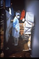 In the isolation area during the Kikwit, Zaire outbreak of Ebola HF