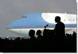President George W. Bush delivers remarks to military personnel at MacDill Air Force Base in Tampa, Florida, Wednesday, June 16, 2004.  White House photo by Eric Draper