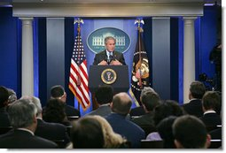 """President George W. Bush holds a press conference Thursday, Aug. 9, 2007, in the James S. Brady Press Briefing Room. """"Today I'm going to sign into law a bill that supports many of the key elements of the American Competitiveness Initiative,"""" said the President. """"This legislation supports our efforts to double funding for basic research in physical sciences.""""  White House photo by Chris Greenberg"""