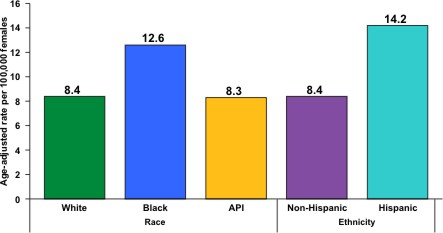 This graph shows the incidence rates for cervical cancer in the United States during 1998 to 2003 by race and Hispanic ethnicity. The rates shown are the number of women who were diagnosed with cervical cancer for every 100,000 women. About 8 white women, 13 black women, and 8 Asian/Pacific Islander women were diagnosed with cervical cancer per 100,000 women. About 14 Hispanic women were diagnosed with cervical cancer per 100,000 women, compared to 8 non-Hispanic women.