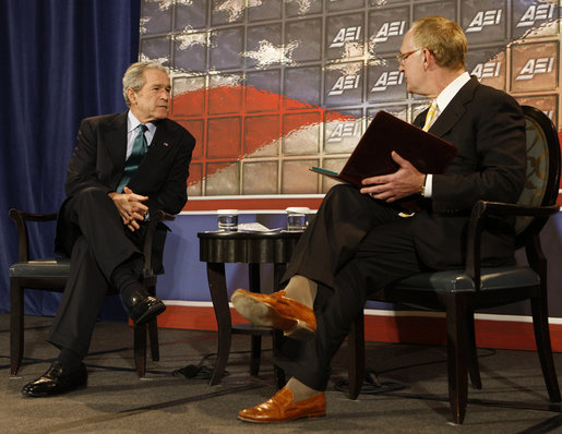 President George W. Bush participates in a question-and-answer session with Chris DeMuth, President of the American Enterprise Institute, Thursday, Dec. 18, 2008, at the Renaissance Mayflower Hotel in Washington, D.C. White House photo by Chris Greenberg