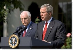 """As Vice President Dick Cheney stands by his side, President George W. Bush delivers remarks during the signing ceremony of S.15-Project Bioshield Act of 2004, in the Rose Garden Wednesday, July 21, 2004. """"The bill I am about to sign is an important element in our response to that threat. By authorizing unprecedented funding and providing new capabilities, Project BioShield will help America purchase, develop and deploy cutting-edge defenses against catastrophic attack,"""" said the President.  White House photo by Paul Morse"""