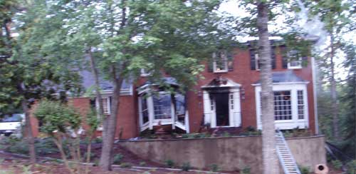 House with burn damage