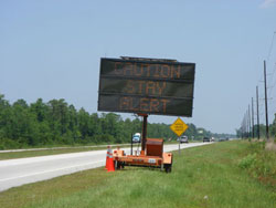 """Electric portable blinking sign """"CAUTION STAY ALERT"""""""