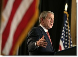 """President George W. Bush addresses his remarks at Harlem Village Academy Charter School in New York, during his visit to the school Tuesday, April 24, 2007, speaking on his """"No Child Left Behind"""" reauthorization proposals.  White House photo by Eric Draper"""
