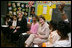 Mrs. Laura Bush and U.S. Secretary of Education Margaret Spellings visit the Sixth Grade Language Arts Class at the Avon Avenue Elementary School, Thursday, March 16, 2006 in Newark, N.J., where Mrs. Bush announced a Striving Readers grant to Newark Public Schools.